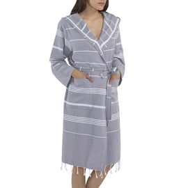 BATHROBE KUMSAL  WITH HOOD 59627 L. GREY