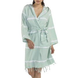 BATHROBE TIE DYE   WITH HOOD -  BASE  MINT COLOR WITH  WHITE STRIPES