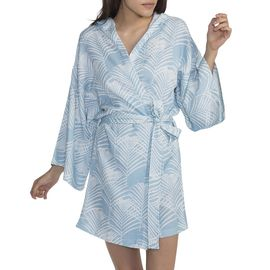 BATHROBE -  SHORT WITH HOOD - BLUE PALM PRINTED