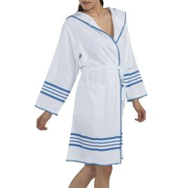 BATHROBE COBAN 2 - WITH HOOD AND STITCHED WHITE - TURQUOISE