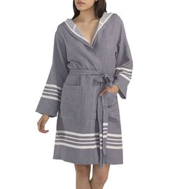 BATHROBE SUN  WITH HOOD W/O FRINGES  / 59795 D.GREY