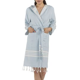 BATHROBE SUN WITH HOOD / 56129  L. BLUE