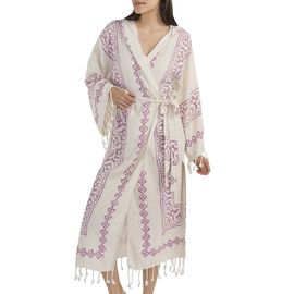 BATHROBE NATURAL BASE  ROSE PINK HAND PRINTED