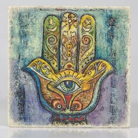 COASTER TRAVERTINE TILE - HAND OF FATIMA - MIX COLORED