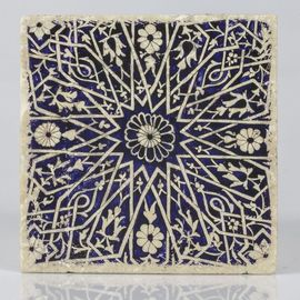 COASTER TRAVERTINE TILE - NAVY ROUND FLOWERS