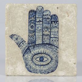 COASTER TRAVERTINE TILE  HAND OF FATIMA - NAVY