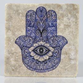 COASTER TRAVERTINE TILE - HAND OF FATIMA - BLUE