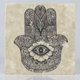 COASTER TRAVERTINE TILE - HAND OF FATIMA - BLACK