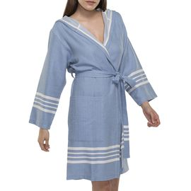 BATHROBE SUN  WITH HOOD W/O FRINGES  / 56456 AIR BLUE