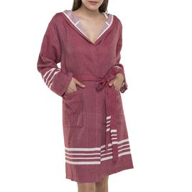 BATHROBE SUN  WITH HOOD W/O FRINGES  / 5784 BORDEAUX
