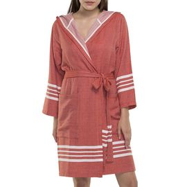 BATHROBE SUN  WITH HOOD W/O FRINGES  / 55020 BRICK