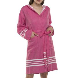 BATHROBE SUN  WITH HOOD W/O FRINGES  / 54783 FUCSHIA