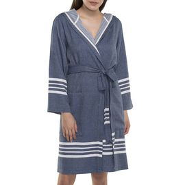 BATHROBE SUN  WITH HOOD W/O FRINGES  / 7617 NAVY