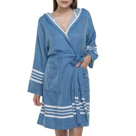 BATHROBE SUN  WITH HOOD W/O FRINGES  / 68007 PETROL