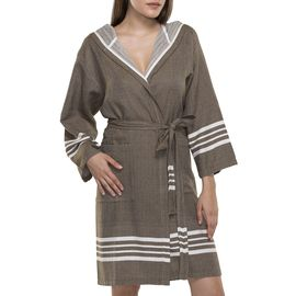 BATHROBE SUN WITH HOOD W/O FRINGES  / 58230 KHAKI