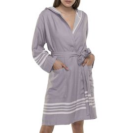 BATHROBE SUN  WITH HOOD W/O FRINGES  / 59627 LIGHT GREY