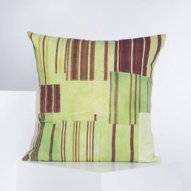 PATCHWORK CUSHION COVER  GREEN   60 x 60 cm
