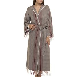 BATHROBE GOCEK  WITH HOOD  / 58230 KHAKI WITH BORDEAUX VERTICAL STRIPES