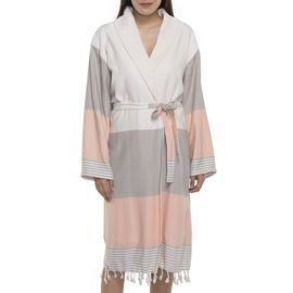 BATHROBE NIL 3   /  53268 TAUPE - 4114 MELON WITH NATURAL TERRY LINING