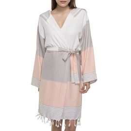 BATHROBE  SUN3 SHORT WITH HOOD  TAUPE -  MELON