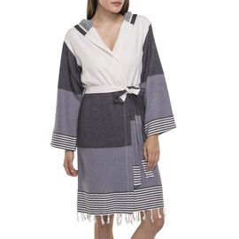 BATHROBE  SUN3 SHORT WITH HOOD  BLACK - DARK GREY