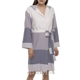 BATHROBE  SUN3 SHORT WITH HOOD  LIGHT GREY  - DARK GREY