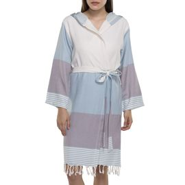 BATHROBE  SUN3 SHORT WITH HOOD  LIGHT BLUE - LIGHT GREY