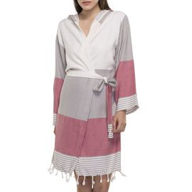 BATHROBE  SUN3 SHORT WITH HOOD  TAUPE - RASPBERRY