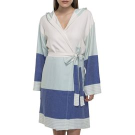 BATHROBE  SUN3 SHORT WITH HOOD  MINT - ROYAL BLUE