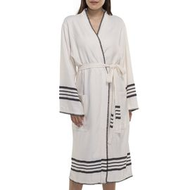 COBAN BATHROBE NATURAL BASE WITH 59867 BLACK STRIPES WITH BLACK STITCHED