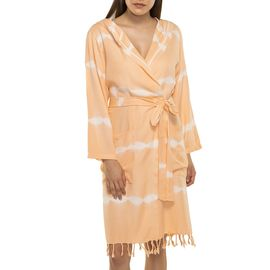 BATHROBE TIE DYE   WITH HOOD -  BASE  MELON COLOR WITH  WHITE STRIPES