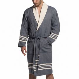 BATHROBE NIL   /   NAVY   WITH NATURAL TERRY LINING