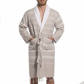 BATHROBE  MAN - ELA TAUPE  WITH WHITE TERRY LINING
