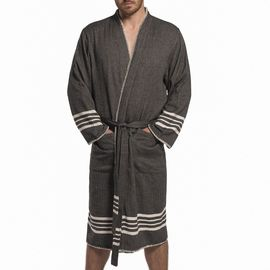 COBAN BATHROBE  MAN BASE BLACK WITH NATURAL STRIPES WITH NATURAL STITCHES