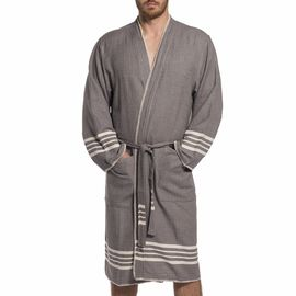 COBAN BATHROBE  MAN -DARK GREY WITH NATURAL STRIPES WITH NATURAL STITCHES