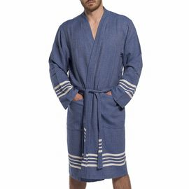 BATHROBE KREM SULTAN MAN -  7617 NAVY   KIMONO COLLAR