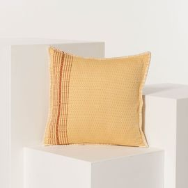 CUSHION GOCEK COTTON  40 X 40 CM  - YELLOW   WITH ALL AROUND NATURAL STITCHED