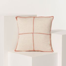 CUSHION PATCHWORK LINEN COTTON 40 X 40 CM BRICK  STITCHED