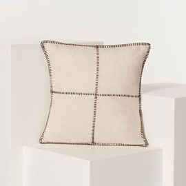 CUSHION PATCHWORK LINEN COTTON 40 X 40 CM BROWN   STITCHED