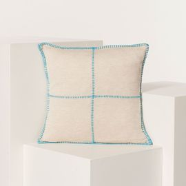 CUSHION PATCHWORK LINEN COTTON 40 X 40 CM TURQUOISE  STITCHED